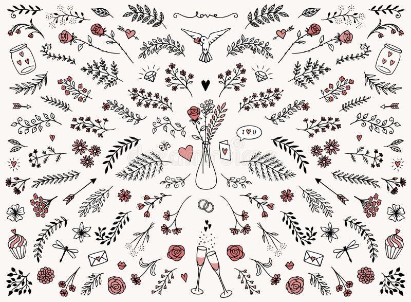 Elementos del diseño floral para el día del ` s de la tarjeta del día de San Valentín ilustración del vector