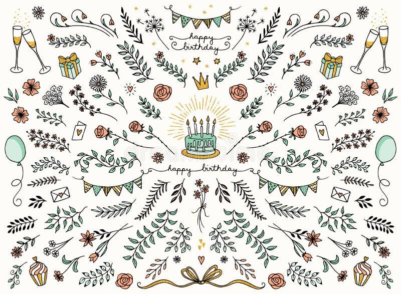 Elementos del diseño floral para las tarjetas de cumpleaños ilustración del vector