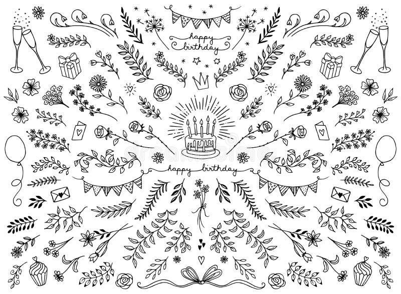 Elementos del diseño floral para las tarjetas de cumpleaños libre illustration