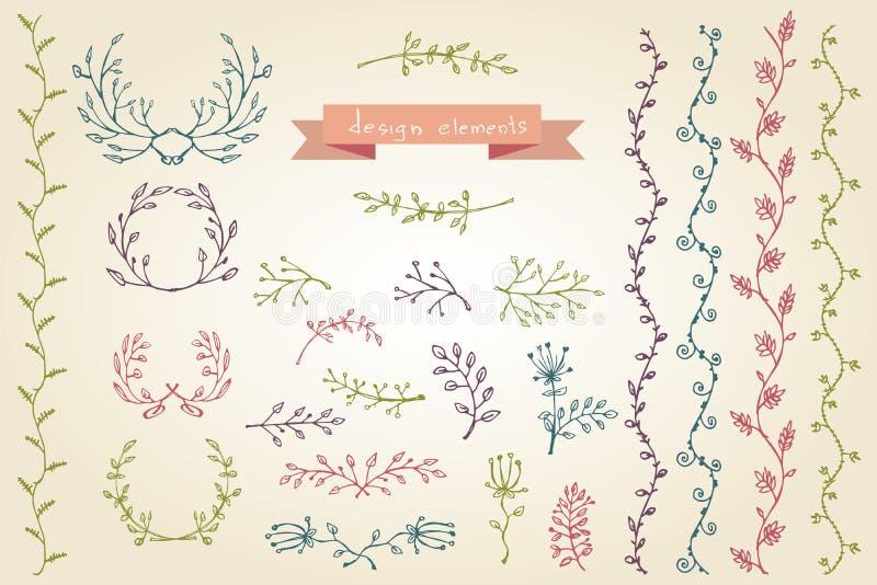 Elementos Del Diseño Gráfico Colección Floral Del Marco Ilustración ...