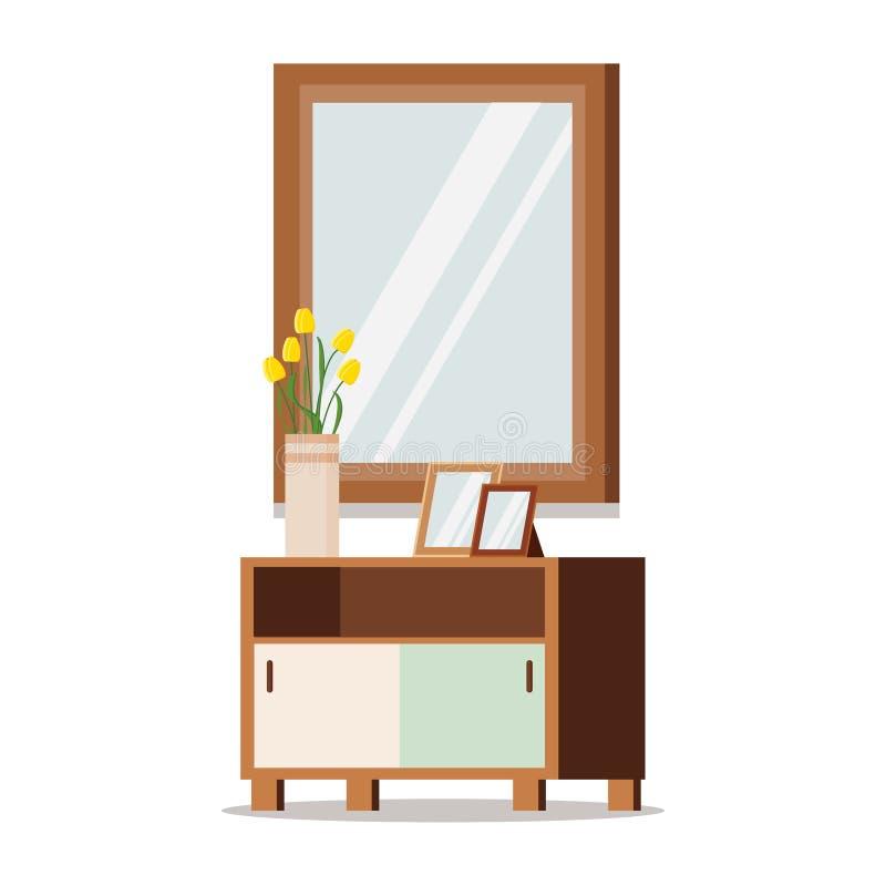 Elementos del diseño interior: ejemplo clásico de madera del vector de los muebles ilustración del vector