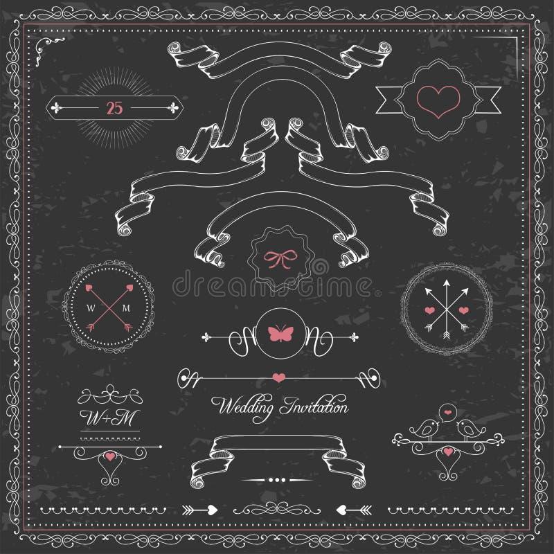 Elementos del diseño, invitación de la boda de la pizarra, stock de ilustración