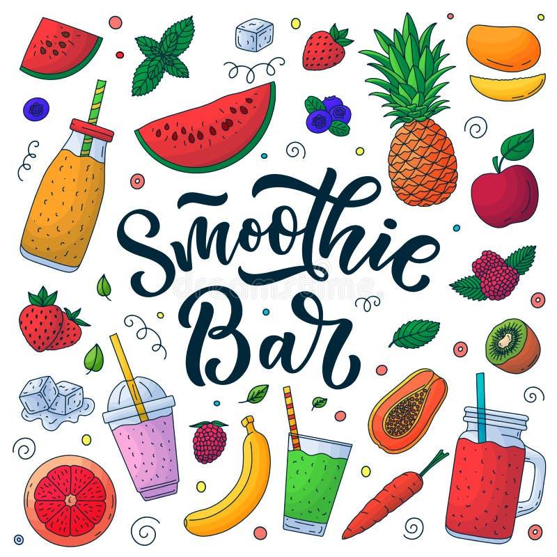 Elementos del diseño del menú de la barra del verano del Smoothie Ilustración del vector Letras exhaustas de la caligrafía de la  stock de ilustración