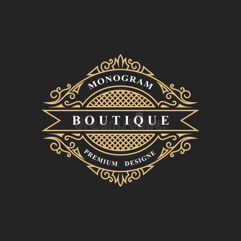 Elementos del diseño del monograma, plantilla agraciada Línea elegante caligráfica diseño del logotipo del arte Simbolice la mues stock de ilustración