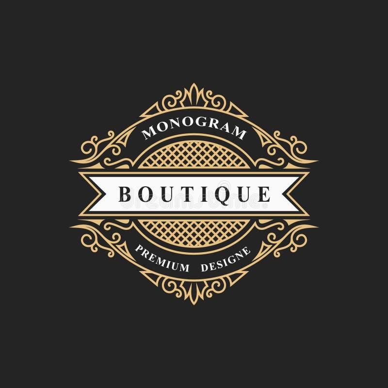 Elementos del diseño del monograma, plantilla agraciada Línea elegante caligráfica diseño del logotipo del arte Simbolice la mues ilustración del vector