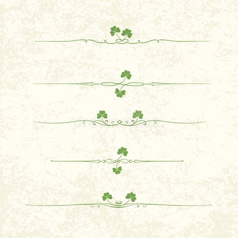 Elementos del diseño para el día del St. Patrick ilustración del vector