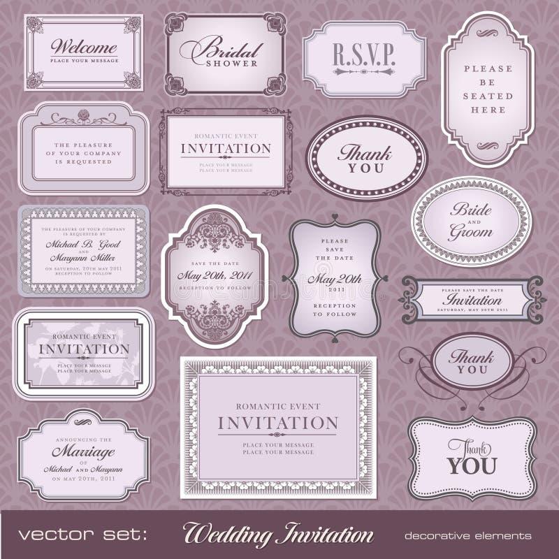 Elementos del diseño para las invitaciones ilustración del vector