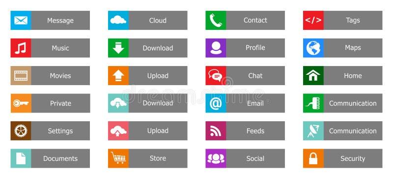Elementos del diseño web, botones, iconos. Plantillas para el Web site stock de ilustración