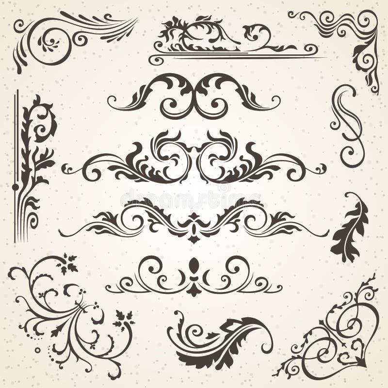 Elementos del diseño y decoración caligráficos de la paginación Sistema del vector para embellecer su disposición libre illustration