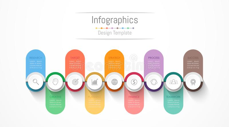 Elementos del dise?o de Infographic para sus datos de negocio con 9 opciones, porciones, pasos, cronolog?as o procesos Vector libre illustration