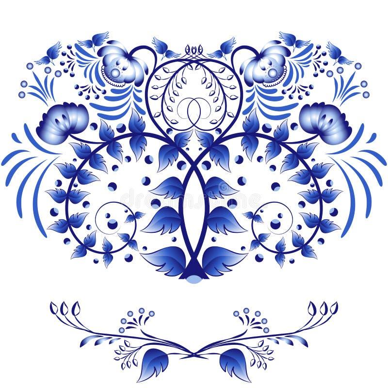 Elementos del estilo Gzhel para la invitación o la tarjeta del diseño El modelo de flores azules y de hojas aisladas en un fondo  ilustración del vector