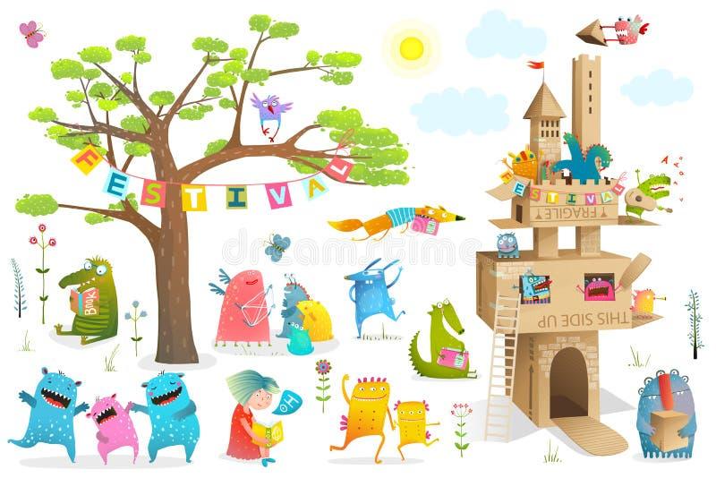 Elementos del festival del castillo de la cartulina de los caracteres de los niños ilustración del vector