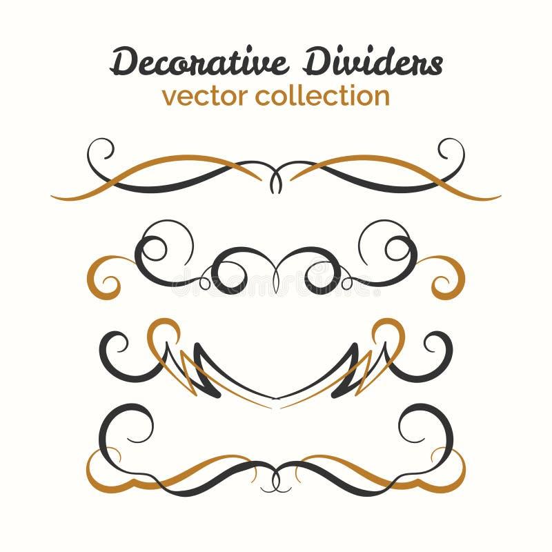 Elementos del Flourish Divisores dibujados mano fijados Elemento decorativo ornamental Diseño adornado del vector ilustración del vector