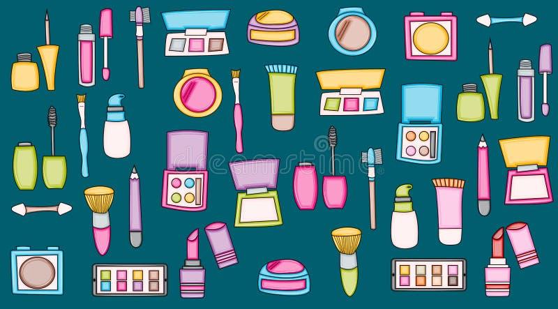 Elementos del garabato de la historieta de los productos de maquillaje De la belleza del impreso etiquetas engomadas ilustración del vector