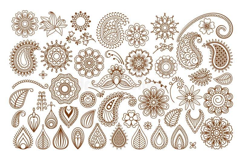 Elementos del garabato del tatuaje de la alheña stock de ilustración
