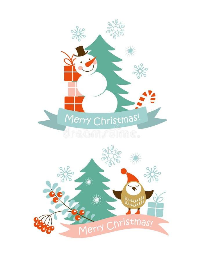 Elementos del gráfico de la Navidad ilustración del vector