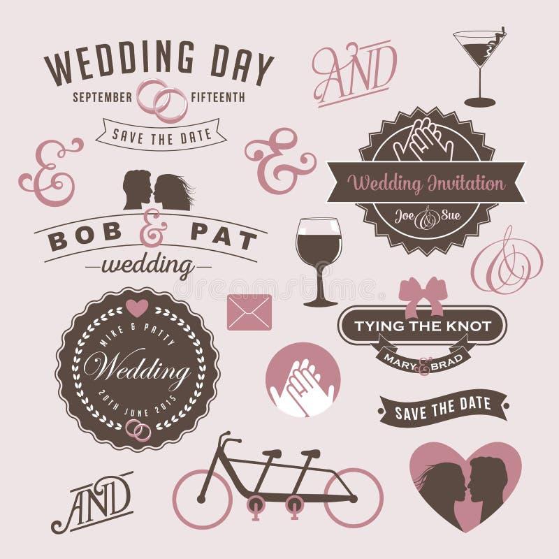 Elementos del gráfico del diseño de la invitación de la boda del vintage libre illustration