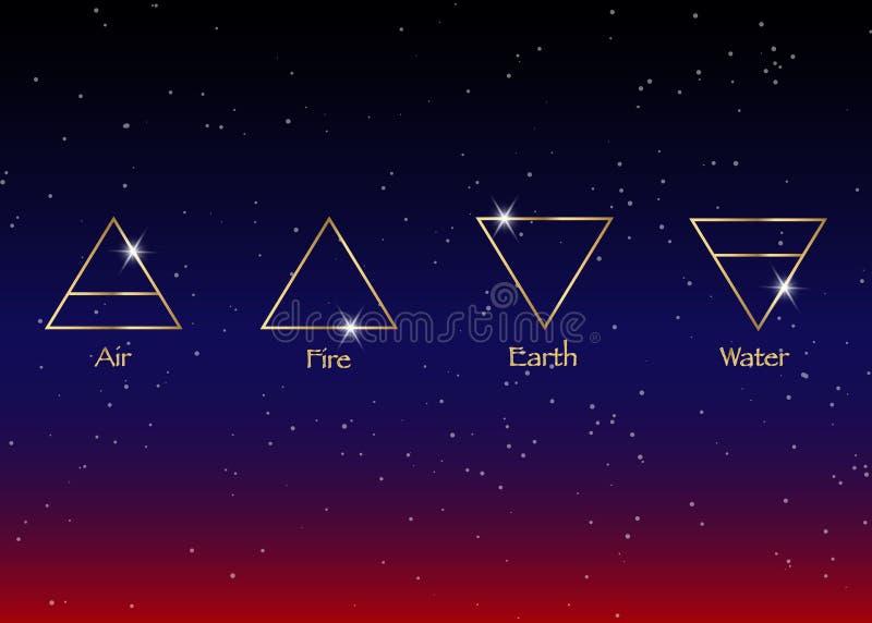 Elementos del icono: Aire, tierra, fuego y agua Símbolos de la adivinación de Wiccan Símbolos ocultos antiguos, ejemplo del vecto ilustración del vector