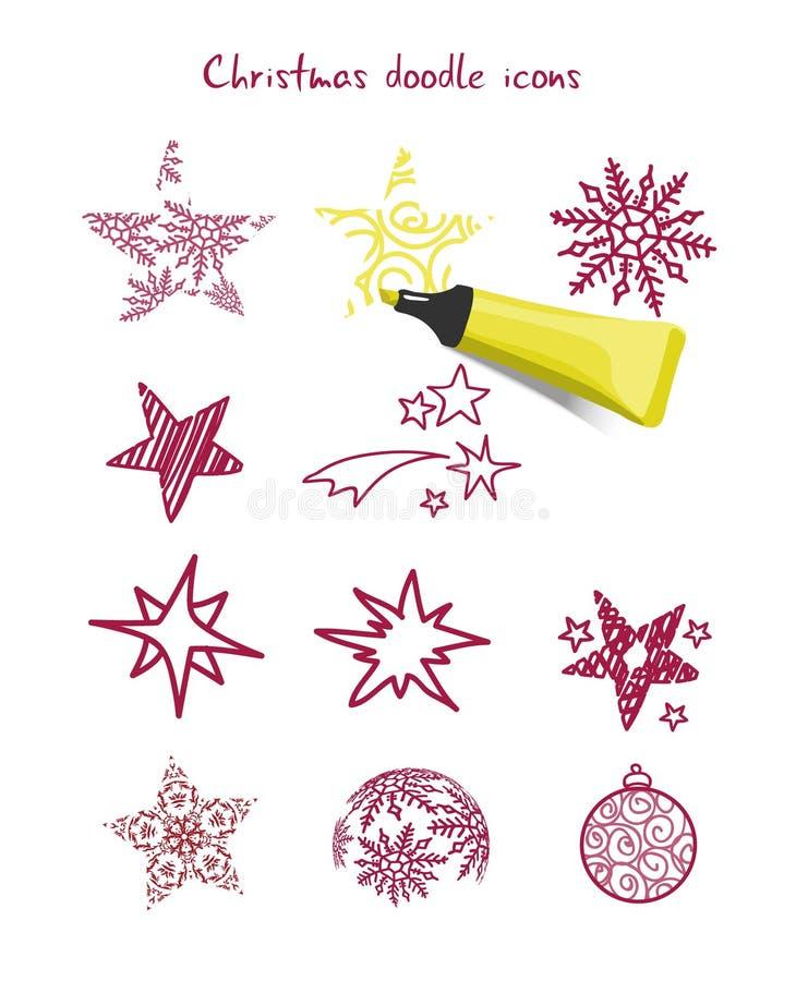 Elementos del icono de la Navidad ilustración del vector