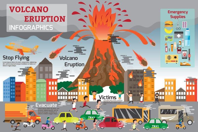 Elementos del infographics de la erupción del volcán stock de ilustración