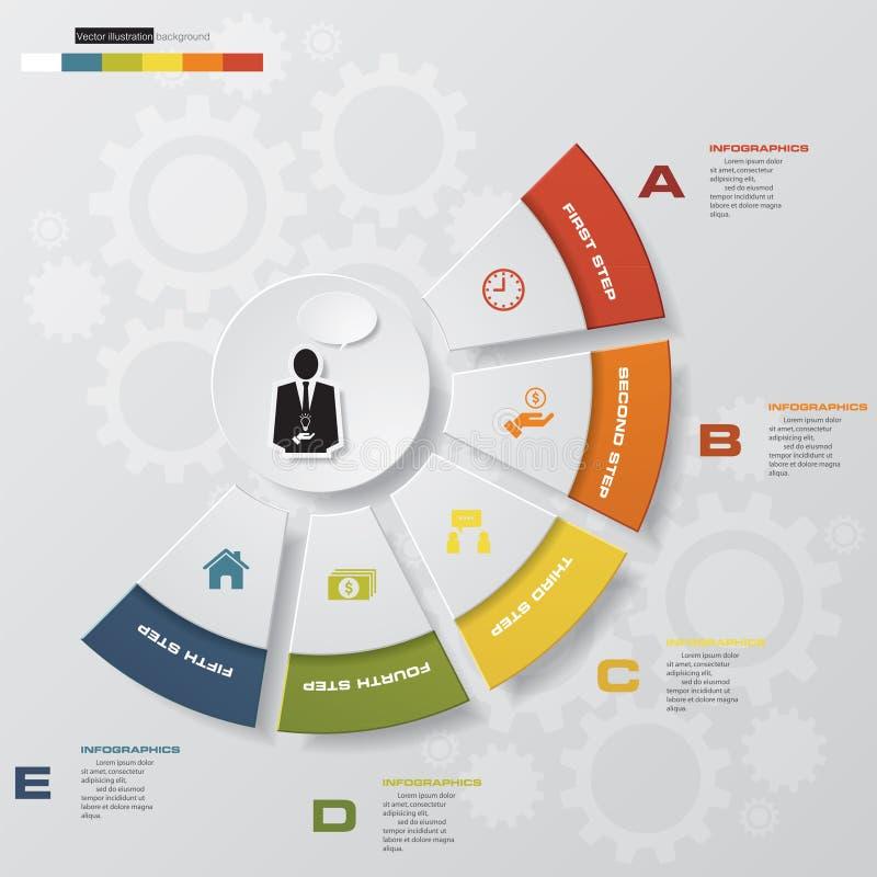 Elementos del infographics de los pasos del extracto 5 stock de ilustración