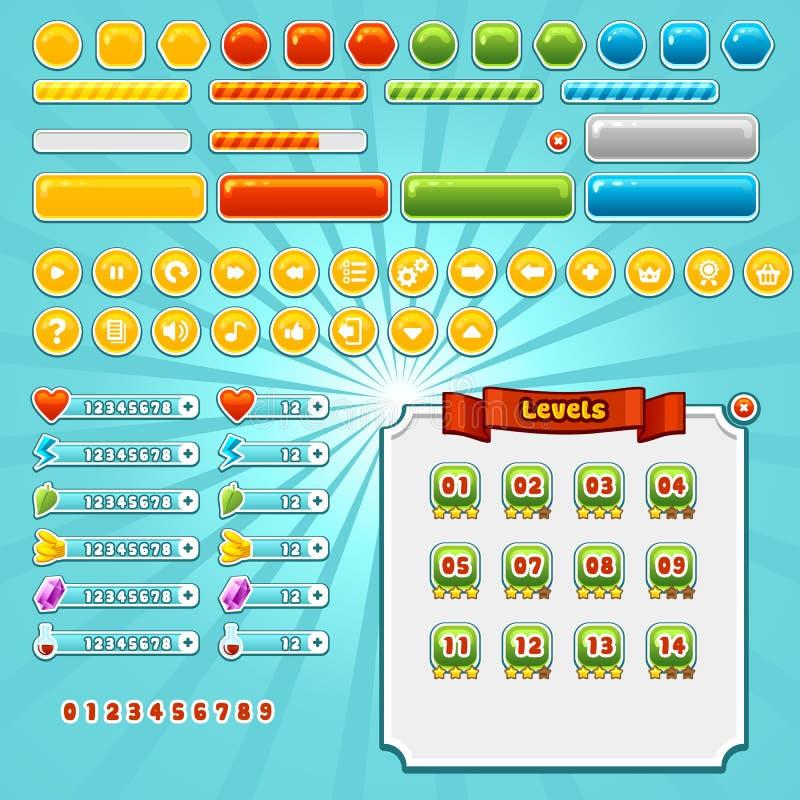 Elementos del interfaz del juego ilustración del vector