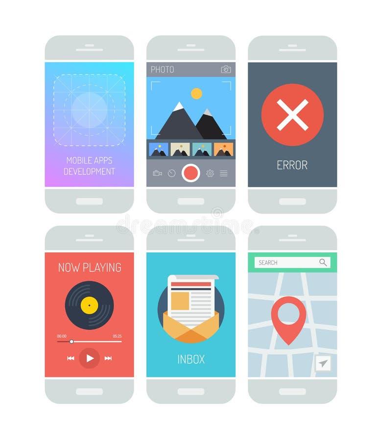 Elementos del interfaz del uso de Smartphone stock de ilustración