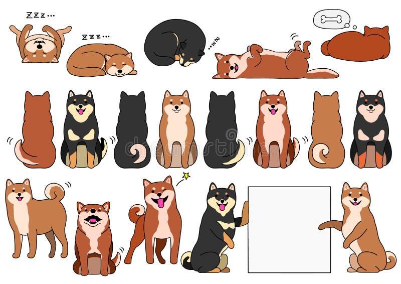Elementos del inu de Shiba con el sistema del esquema libre illustration