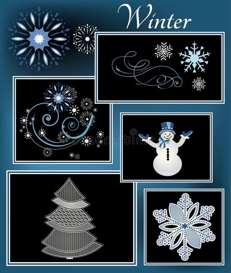 Elementos del invierno ilustración del vector