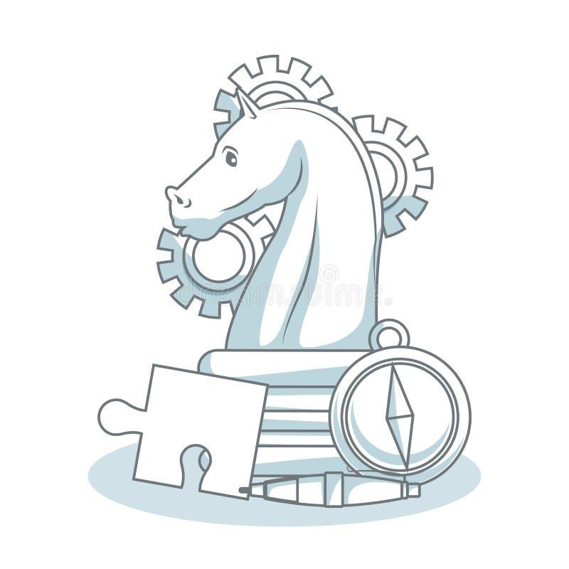 Elementos del juego de ajedrez ilustración del vector