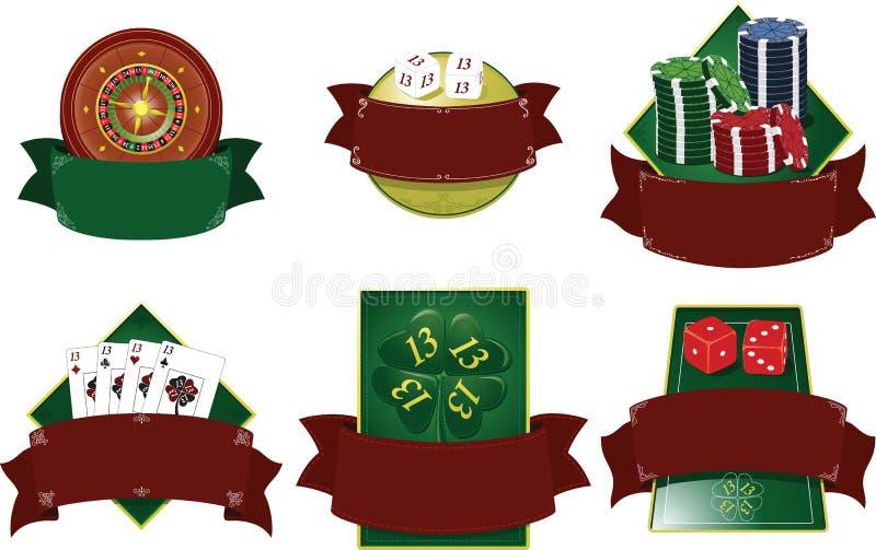 Elementos del juego del blasón del casino. imagenes de archivo