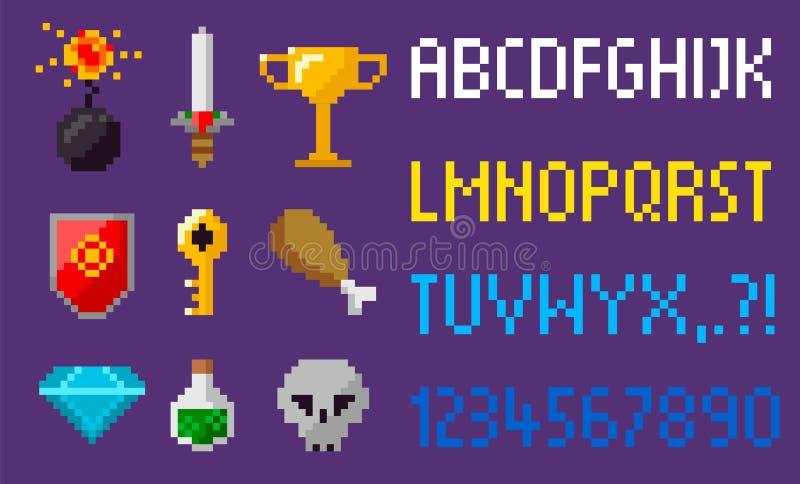 Elementos del juego del pixel, alfabeto y diamante de los iconos stock de ilustración