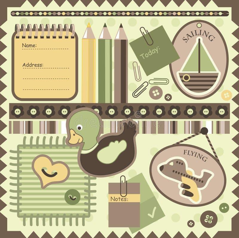 Elementos del libro de recuerdos ilustración del vector