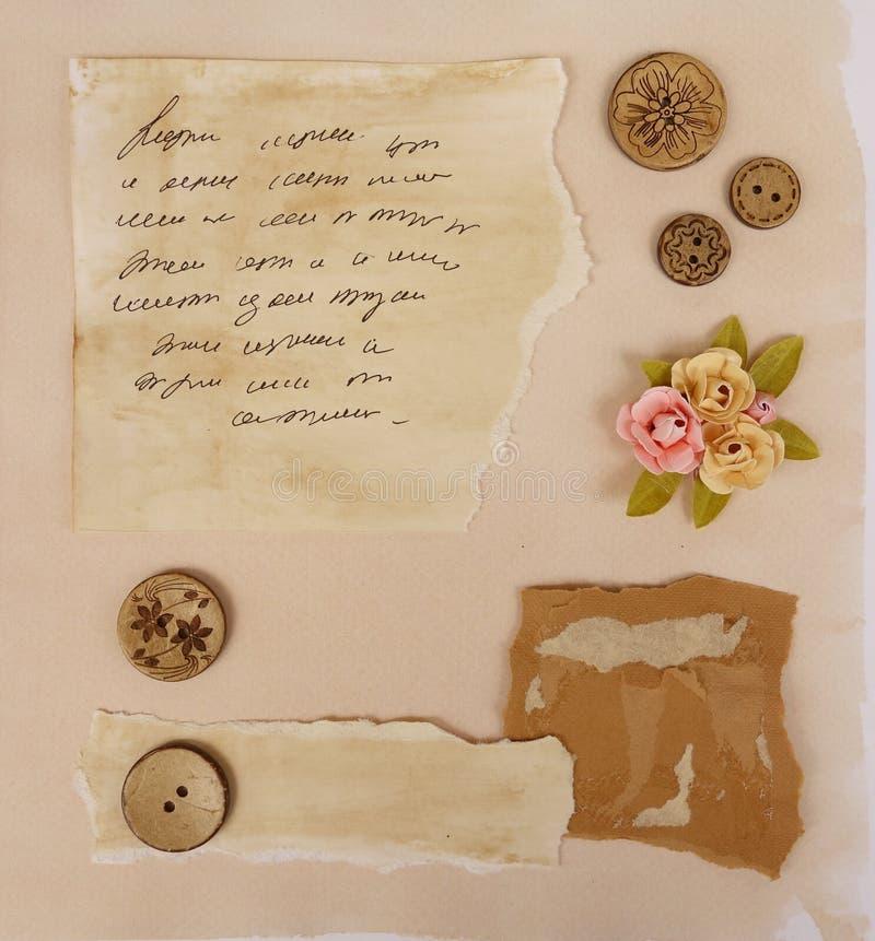 Elementos del libro de recuerdos imagenes de archivo