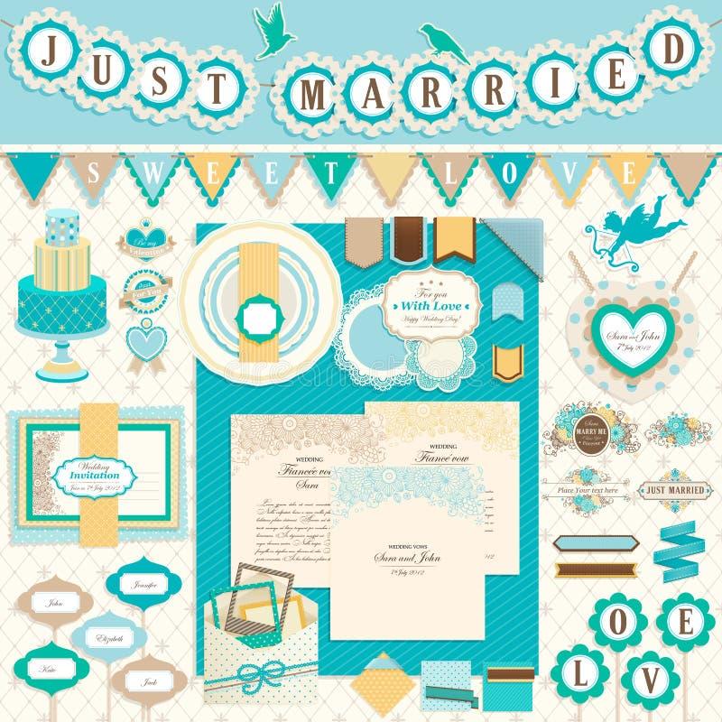 Elementos del libro de recuerdos del día del `s de la boda stock de ilustración
