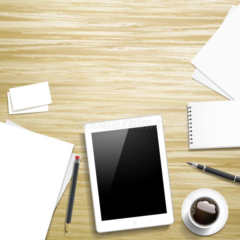 Elementos del lugar de la tableta y de trabajo stock de ilustración