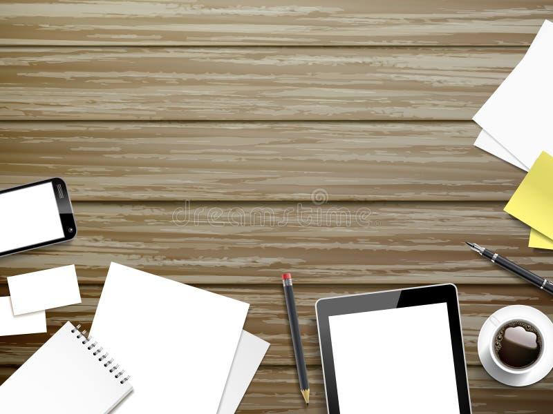 Elementos del lugar de trabajo en fondo de madera libre illustration