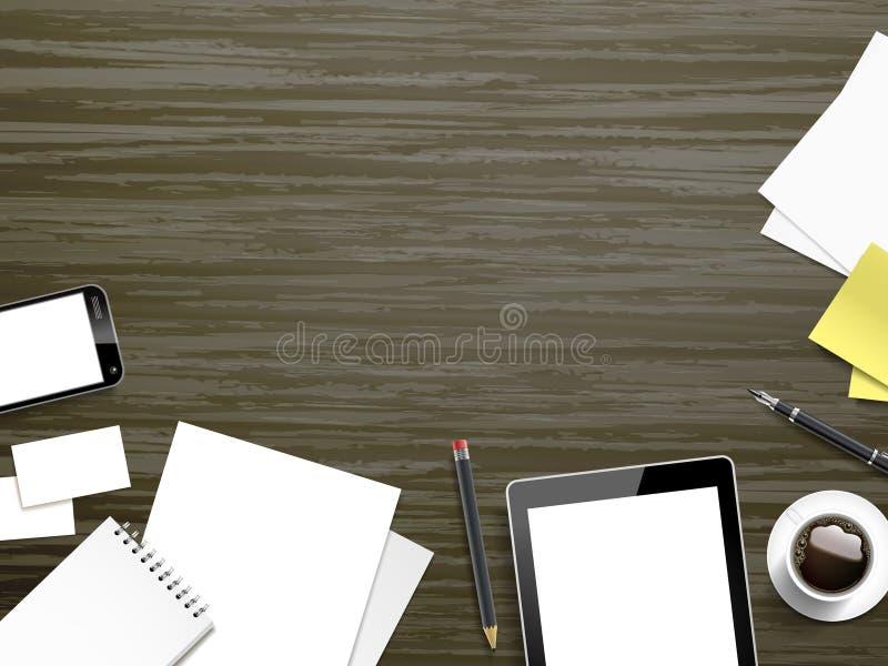 Elementos del lugar de trabajo en fondo de madera stock de ilustración