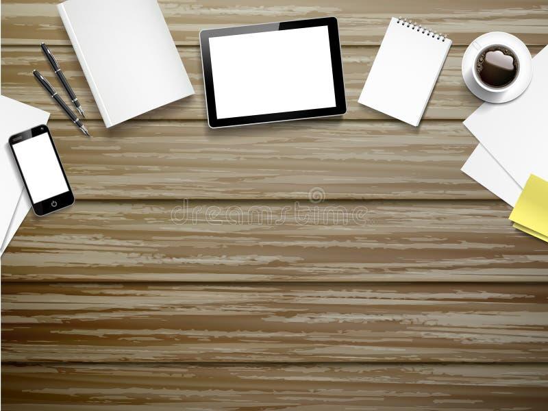 Elementos del lugar de trabajo en la tabla de madera ilustración del vector