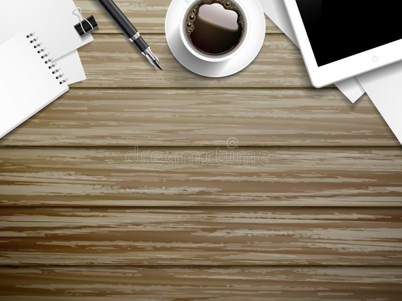 Elementos del lugar de trabajo en la tabla de madera libre illustration