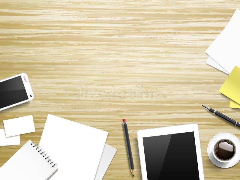 Elementos del lugar de trabajo sobre la tabla de madera libre illustration