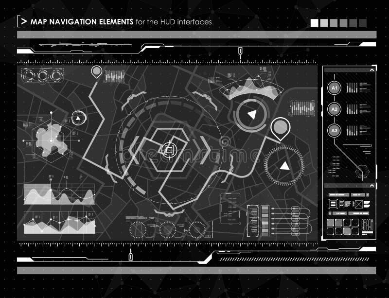 Elementos del mapa de la navegación de la exhibición de la cabeza-para arriba para el web y el app Interfaz de usuario futurista stock de ilustración