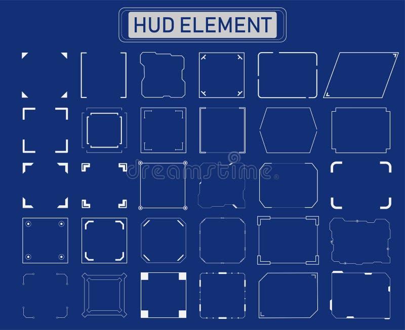 Elementos del marco de Hud ilustración del vector