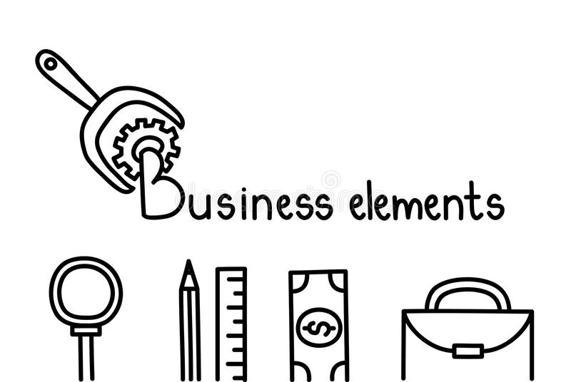 Elementos del negocio, iconos de los garabatos Ilustración del vector libre illustration