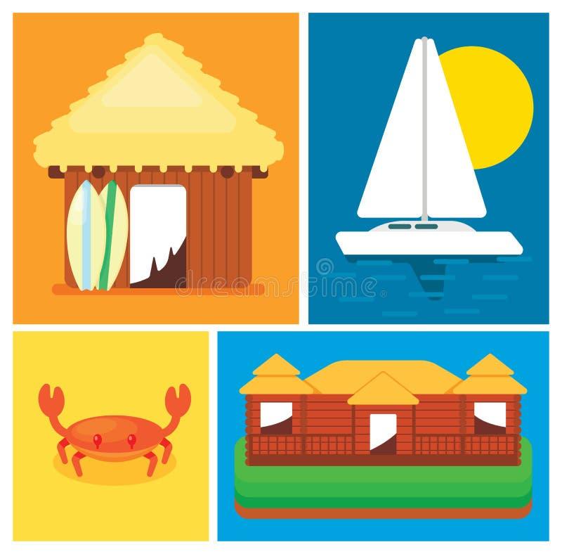 Elementos del ocio del concepto en la isla stock de ilustración