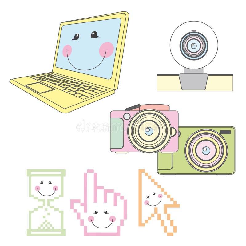 Elementos del ordenador ilustración del vector
