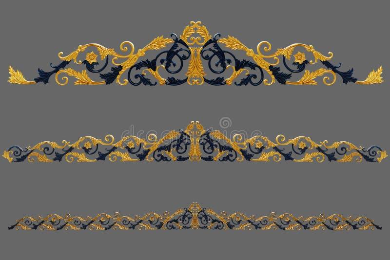 Elementos del ornamento, diseños florales del oro del vintage stock de ilustración
