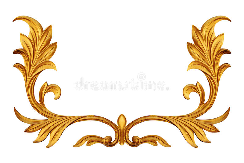 Elementos del ornamento, diseños florales del oro del vintage fotografía de archivo