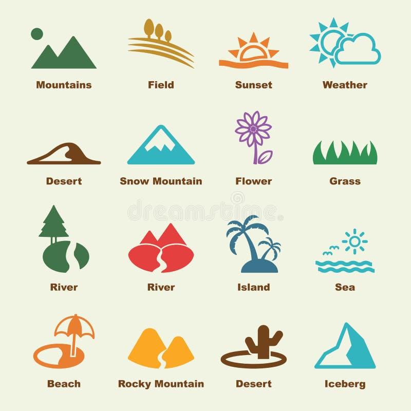 Elementos del paisaje ilustración del vector