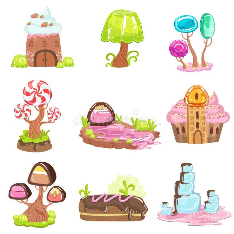 elementos del paisaje del Hada-cuento hechos de dulces y de pasteles stock de ilustración